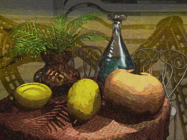 果物を配した3D静物画