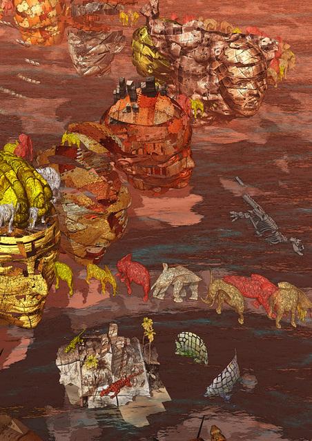 「名無し列島--動物編(部分2)」---デジタルアートX展