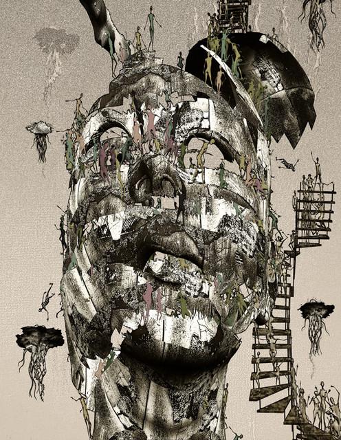 「街角のピエロ」---モミュ個展作品No10