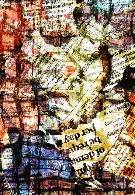 新聞紙を切り貼りした抽象画