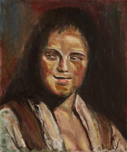 油彩によるポートレート「のぞき見るような表情の女」