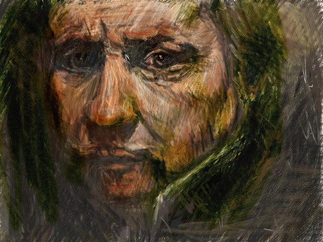 レンブラント自画像を模写した