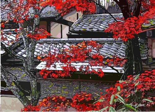 晩秋の古家
